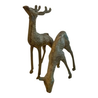 Vintage Brass Deer - a Pair For Sale