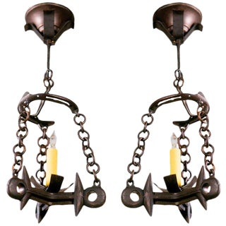 Vintage French Modern Farmhouse Chandelier Pendants - A Pair For Sale