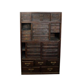 Japanese Pine Kitchen Chest Tansu For Sale