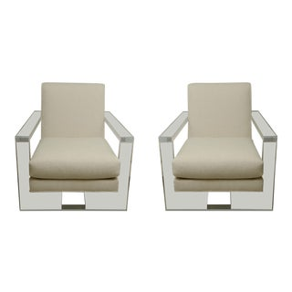 Contemporary Milo Baughman Style Lucite Armchairs - a Pair For Sale
