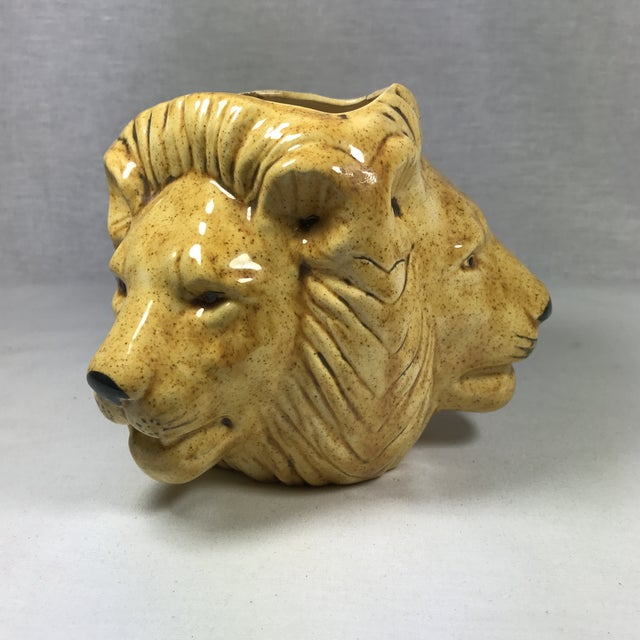 Mid-Century Lion Head Planter or Vase For Sale - Image 9 of 11