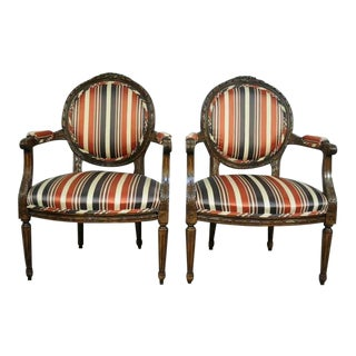 1960s Vintage French Louis XVI Style Carved Wood Round Back Living Room Arm Chairs- A Pair For Sale