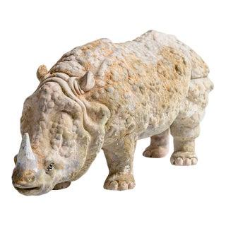 Italian Brutalist Terra Cotta Sculpture of a Rhinoceros For Sale