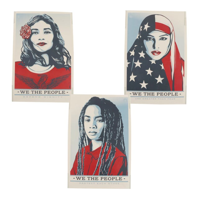 "Three Shepard Fairey Serigraph Prints ""We the People"" For Sale"