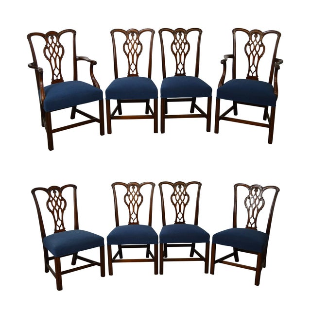 Chippendale Style Set of 8 Custom Mahogany Dining Chairs - Image 11 of 11