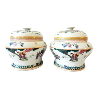 Famille Rose lidded Ginger Jars, S/2 For Sale