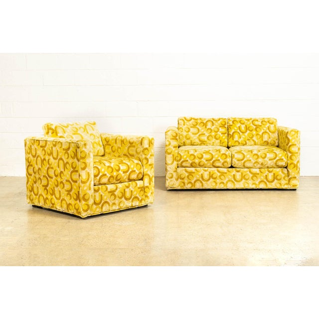 Mid Century 1970s Yellow Loveseat and Lounge Chair For Sale - Image 12 of 12