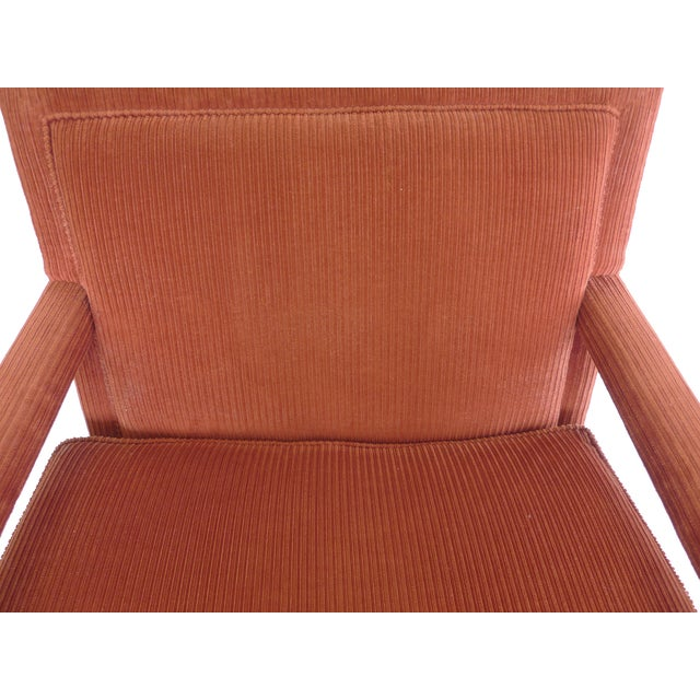 Red 1970s Milo Baughman-Style Corduroy Armchair - Pair For Sale - Image 8 of 10