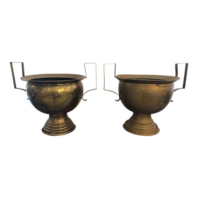 19th Century French Brass Planters Urns - A Pair For Sale