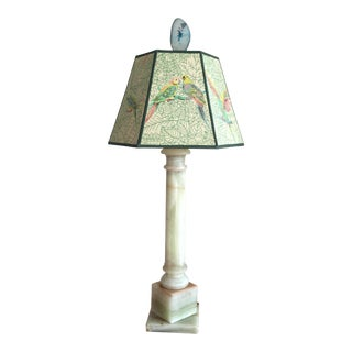 Onyx Column Lamp & Vintage Parrots Shade For Sale
