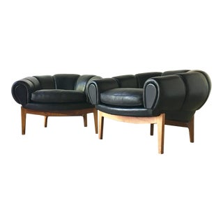 Pair of Black Leather Croissant Armchairs by Illum Wikkelso 1950s