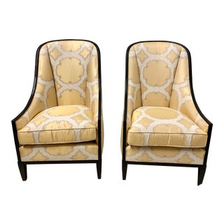Pair of Ebonized Kravet Haddam Chairs For Sale