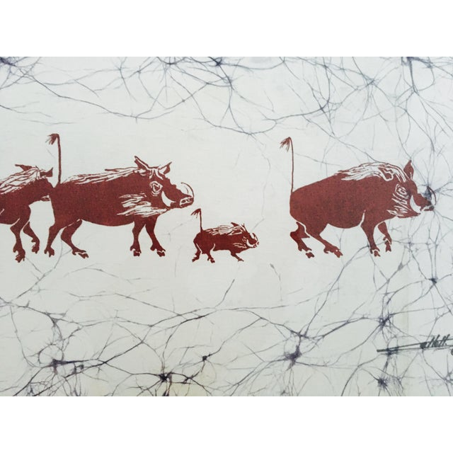 Batik Safari Wild Boars Print For Sale - Image 5 of 8