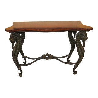 Pride Sasser/Century Seahorse Metal and Wood Console Table