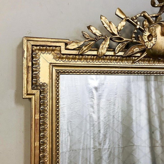 Late 19th Century 19th Century French Louis XVI Style Gilded Mirror For Sale - Image 5 of 12