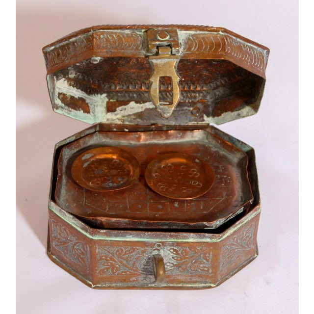 Anglo-Indian Handcrafted Tinned Copper Metal Spices Caddy Box For Sale - Image 12 of 13
