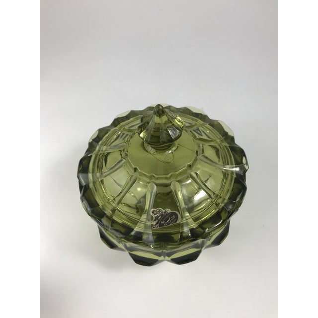 Green 1970s Traditional Fenton Glass Covered Candy Dish For Sale - Image 8 of 10