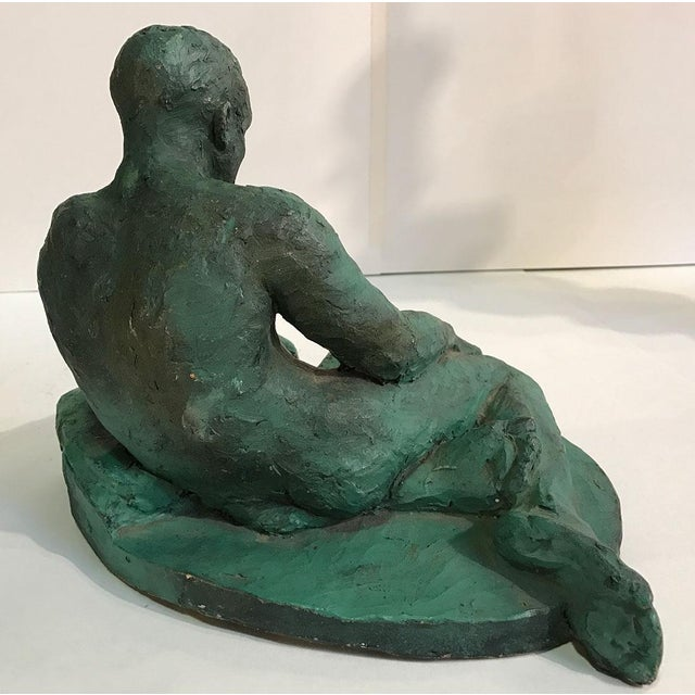 Clay Sculpture of a Seated / Reclining Nude Male, 1937 For Sale - Image 9 of 10