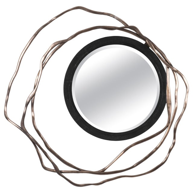 Dargelos Mirror in Black Shagreen and Bronze-Patina Brass by Kifu Paris For Sale - Image 9 of 9