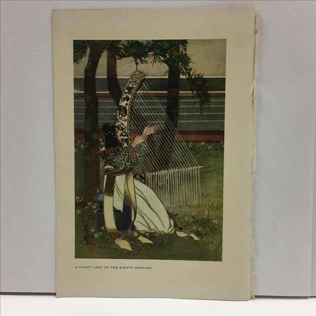 Wonderful color book illustration by Miss Wakuna Utagawa. Right side carefully trimmed from a book. Ready for framing. 1911.