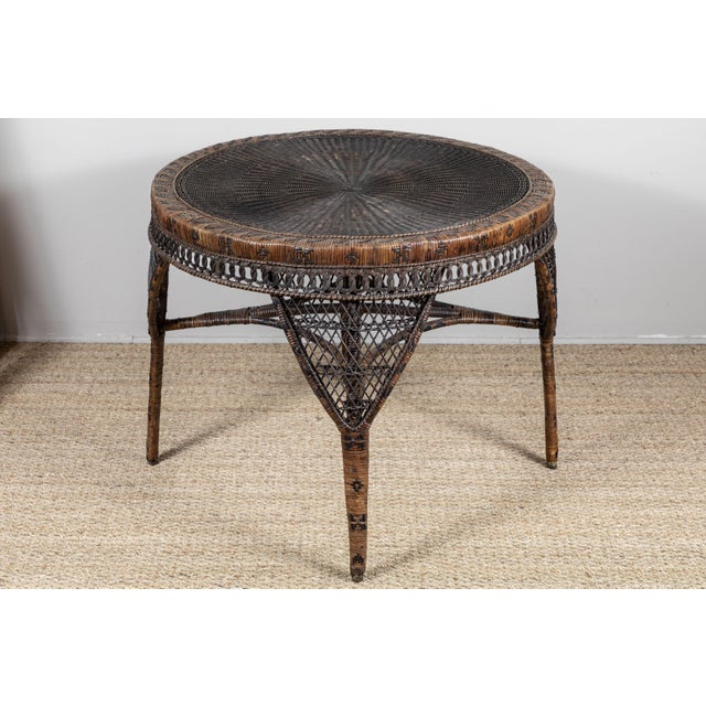 Victorian Wicker Round Side Table For Sale - Image 9 of 11