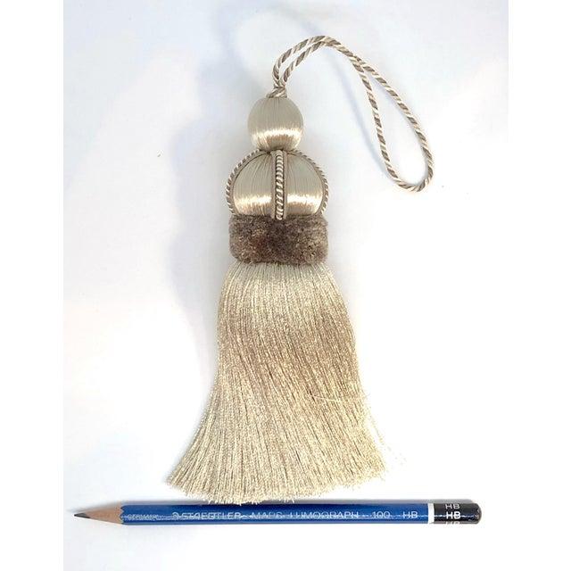 Beige Key Tassel With Cut Velvet Ruche For Sale - Image 4 of 10