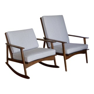 Mid-Century Modern Rocking Chair & High Back Lounge Chair - A Pair
