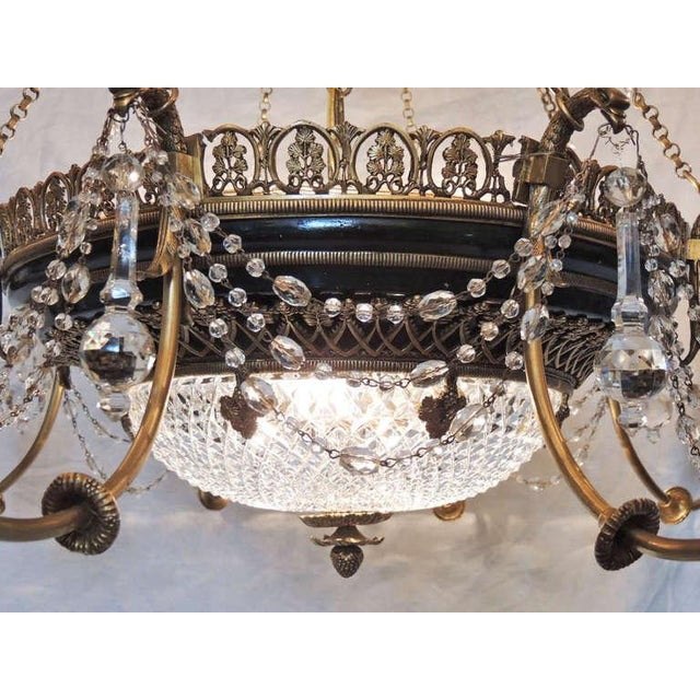 Gold Late 19th C French Empire Bronze and Crystal Chandelier For Sale - Image 8 of 10