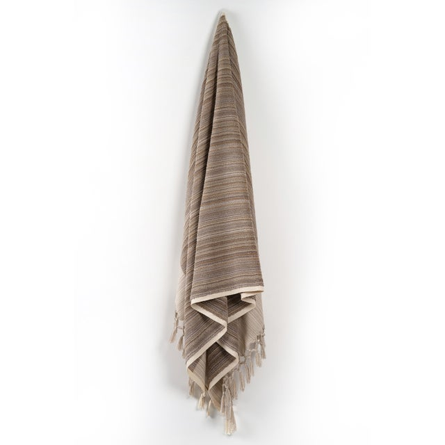 Earth Lines Handmade Organic Cotton Ultra King Bath Towel in Tan For Sale - Image 10 of 10