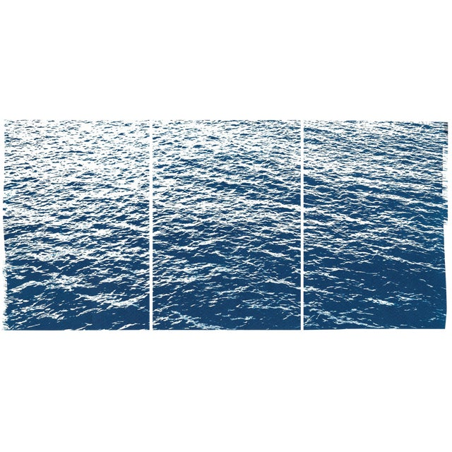 Bright Seascape in Capri, Navy Cyanotype Triptych 100x210 Cm, Classic Blue Edition of 20. For Sale
