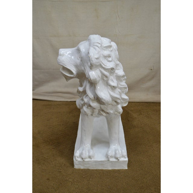 French Faience Pottery Tuilerie Normande Vintage Large White Seated Lion Statue For Sale In Philadelphia - Image 6 of 13