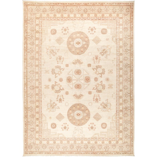 """Khotan Hand Knotted Area Rug - 9' 10"""" X 13' 9"""" For Sale - Image 4 of 4"""