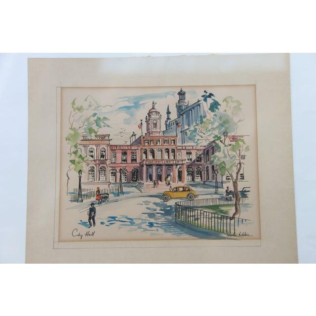 New York City Scape Original Mid Century Watercolor - Image 2 of 9