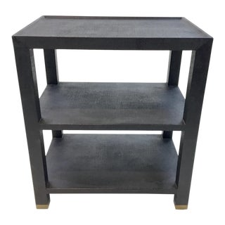 Made Goods Navey Linen Side Table For Sale