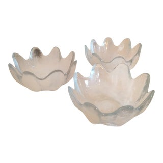 Mid-Century Modern Blenko Handblown Glass Small Salad Bowls - Set of 3 For Sale