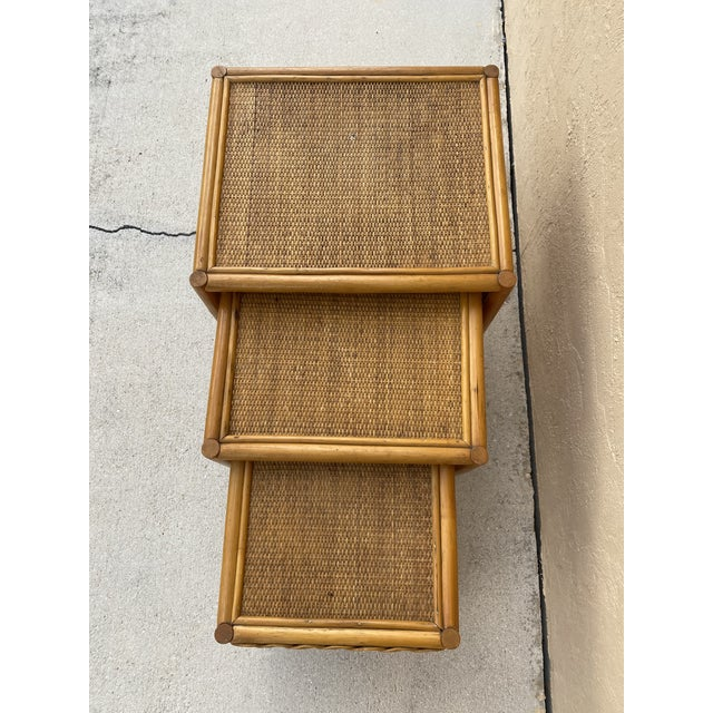 Mid-Century Modern 1970s Golden Palm Beach Bamboo and Rattan Nesting Tables - Set of 3 For Sale - Image 3 of 11
