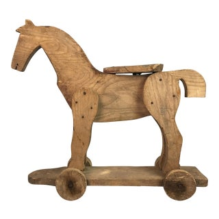 19th Century Wooden Hand Crafted Horse Toy For Sale