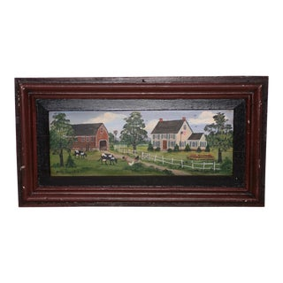 Betty Fischer (American, 20th C.) Folk Art Oil Painting C. 1970s For Sale