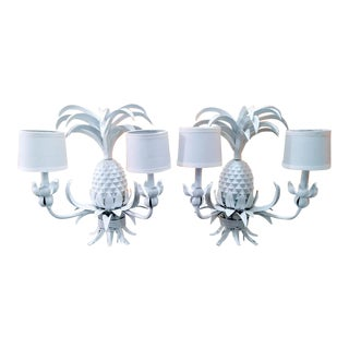 A Pair of Large Palm BeachRegency White High Gloss Pineapple Wall Sconces Lights For Sale