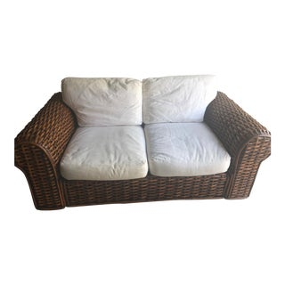 Ralph Lauren Woven Rattan Wicker Sofa For Sale