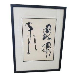 1980s Figurative Abstract Drawing For Sale