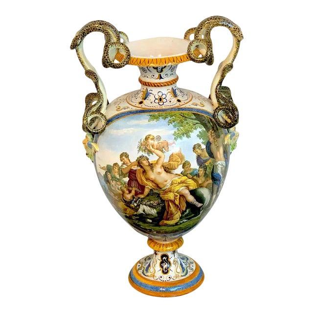 Stunning Ginori Majolica Allegorical Serpent Handled Vase For Sale