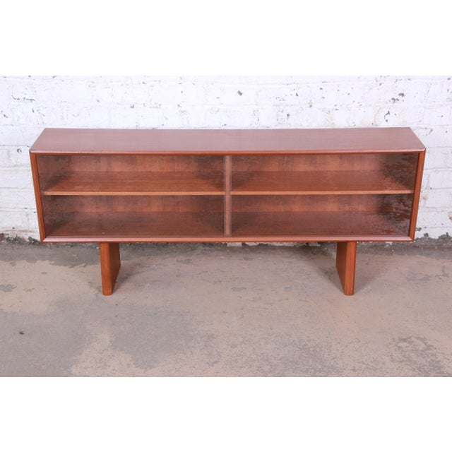 Faarup Møbelfabrik Svend Aage Larsen for Faarup Danish Modern Teak Glass Front Bookcase or Credenza For Sale - Image 4 of 11