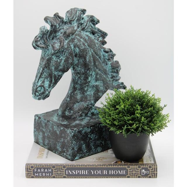 Verdigris Wild Mustang Horse Head Statue For Sale - Image 11 of 13
