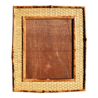Tortoise Shell, Tiger Wood or Scorched Bamboo Photo Frame With Stand For Sale