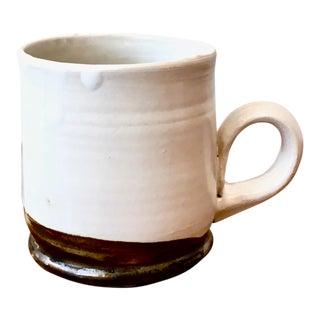 Arts and Crafts Handmade White Stoneware Coffee Mug