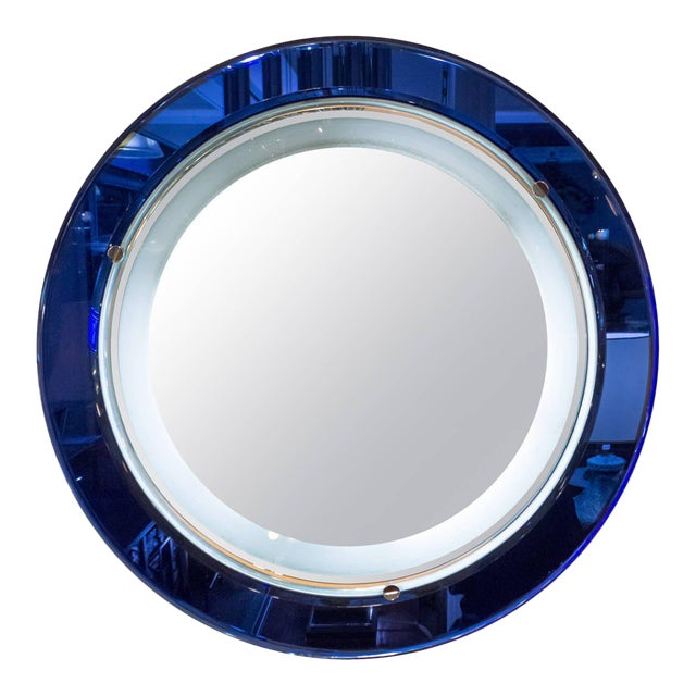 Italian Blue and White Mirror With Backlight in the Style of Fontana Art, 1970s For Sale