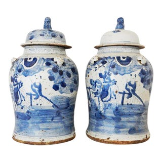 Porcelain Lidded Blue & White Ginger Jars - A Pair