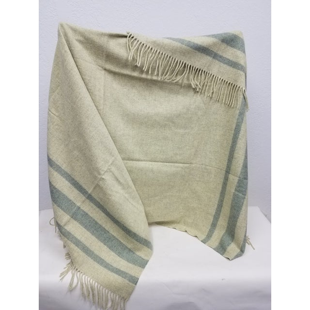 Traditional Merino Wool Throw Light Green With Darker Green Stripes - Made in England For Sale - Image 3 of 8
