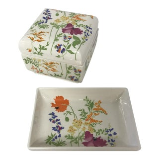 Elizabeth Arden Floral-Printed Lidded Dish & Catchall Tray - A Pair For Sale
